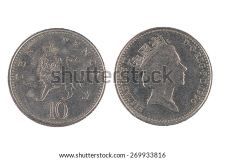 Ten Pence coin isolated over a white background - stock photo