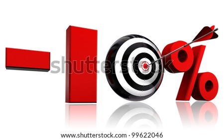 ten per cent 10% red discount symbol with conceptual target and arrow on white background.clipping path included