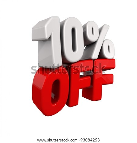 ten Percent Automatic Reduction. 3d text for 10% OFF in red and white angled obliquely away from camera isolated on white - stock photo