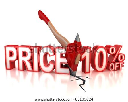ten percent discount 3d concept - stock photo