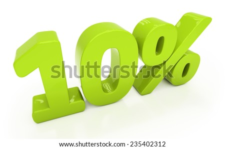 Ten percent off. Discount 10. 3D illustration - stock photo