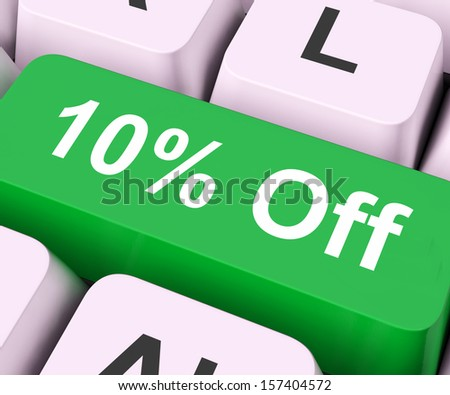 Ten Percent Off Key On Keyboard Meaning Discount Rebate Or Sale  - stock photo