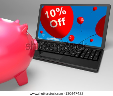 Ten Percent Off On Laptop Shows Small Discounts And Promos