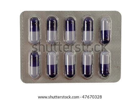 Ten pills in packing isolated on a white background - stock photo