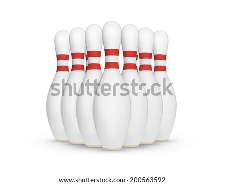 Ten pin bowling set isolated on a white background with soft shadow. - stock photo