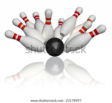 Ten pins in red and white and one black bowling ball - strike - isolated - stock photo