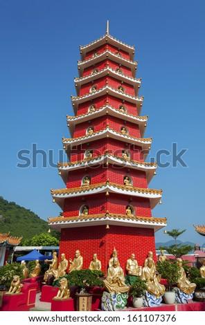 Ten Thousand Buddhas Monastery in Hong Kong  - stock photo