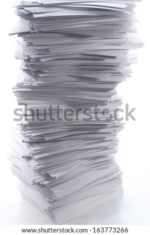 ten thousand sheets of white paper - stock photo