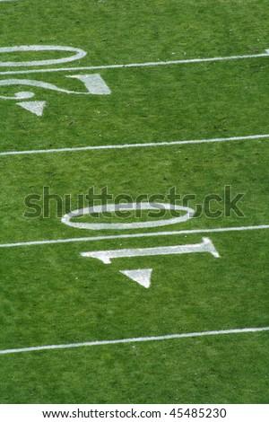 Ten to Twenty Yardline at football game - stock photo