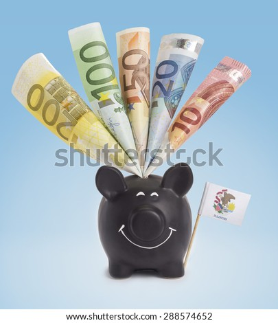 Ten,twenty,fifty,one hundred and a 200 Euro banknote in a smiling piggybank of Illinois.(series) - stock photo