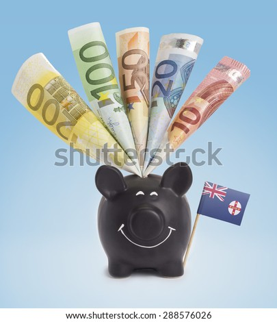 Ten,twenty,fifty,one hundred and a 200 Euro banknote in a smiling piggybank of New South Wales.(series) - stock photo