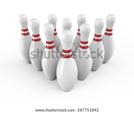 Ten white bowling pins - stock photo
