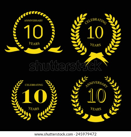ten  years anniversary laurel gold  wreath, set
