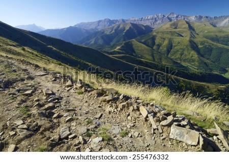 tendenera Mountains in Pyrenees, Tena Valley, Huesca, Aragon, Spain. - stock photo