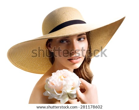 Tender girl in the summer image of a flower wit hat on a white background isolated - stock photo