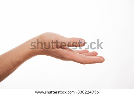 Tenderhearted gesture, closeup shot, white background