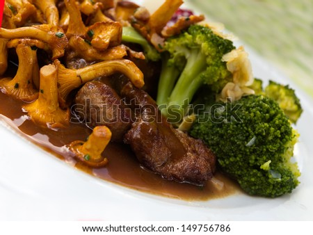 Tenderloin of Roe Deer Back with Chanterelle  - stock photo