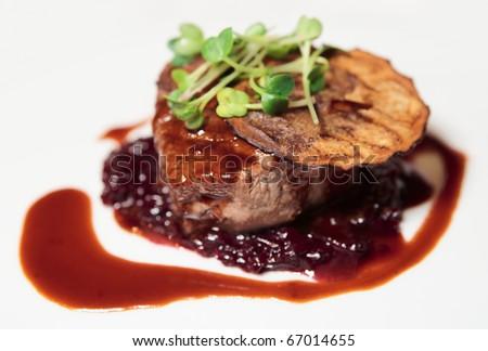 Tenderloin steak with sauce - stock photo