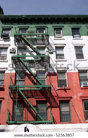 Tenement in Little Italy, New York - stock photo