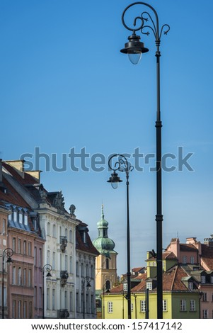 Tenements facades at Old Town in Warsaw, Poland - stock photo