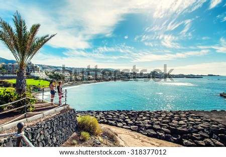 Tenerife, Canary Islands- December 20, 2014: Picturesque view to the Fanabe beach in Costa Adeje. Tenerife. Canary Islands. Spain - stock photo