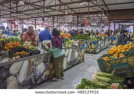 TENERIFE, CANARY ISLANDS - FEBRUARY 13, 2016: Stalls selling fruit and vegetables in the agricultural market of the town of Tacoronte