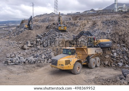 TENERIFE, CANARY ISLANDS - SEPTEMBER 10, 2015: Earthworks, for construction of a road