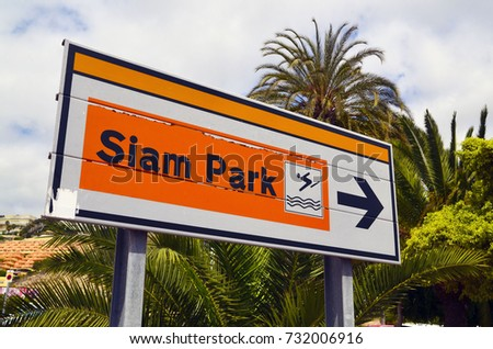 Tenerife,Canary Islands,Spain - July 22,2017:Siam Park sign near Siam Park- the Water Kingdom in Las Americas,Tenerife,Canary Islands,Spain.