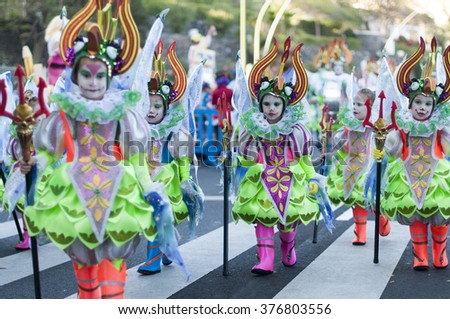 TENERIFE, FEBRUARY 9: Group in The Carnival in Santa Cruz de Tenerife, during different contests of Carnival Groups. February 9, 2016 Tenerife (Canary Islands) Spain.