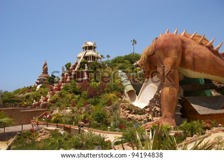 TENERIFE ISLAND, SPAIN - MAY 17: The Giant, The Dragon and Power of Tower water attractions in Siam Park on May 17, 2010 in Tenerife, Spain. The Siam Park is the largest water theme park in Europe.