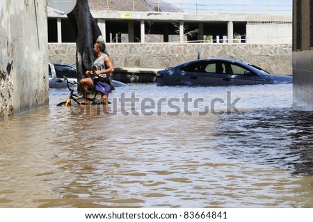 TENERIFE, SPAIN - AUGUST 29: Flooding due to high tide that flooded in heavy seas, the whole neighborhood of San Andres. August 29, 2011 in San Andres, Tenerife (Canary Islands) Spain. - stock photo