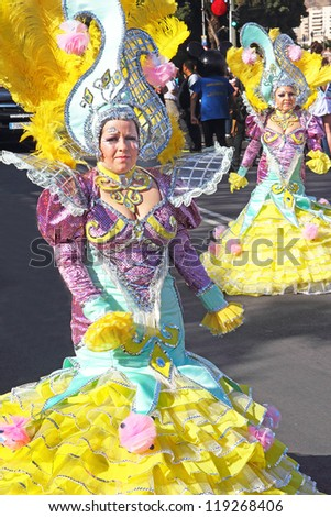 TENERIFE, SPAIN - FEBRUARY 21: An unidentified woman participates in the Carnival parade on February 21, 2012, Tenerife, Santa Cruz de Tenerife, (Canary Islands) Spain.