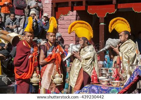 TENGBOCHE, NEPAL - November 4, 2009 Gelug monks in Tengboche Monastery during the Mani Rimdu Festival. - stock photo