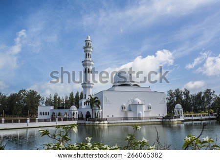 Tengku Tengah Zaharah Mosque, also known as Floating Mosque in Kuala Terengganu, Malaysia. - stock photo