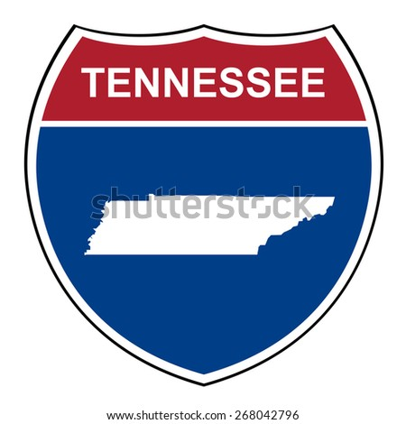 Tennessee American interstate highway road shield isolated on a white background. - stock photo