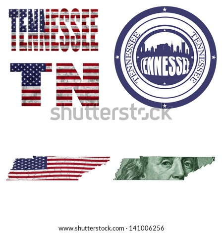 Tennessee state collage (map, stamp,word,abbreviation) in different styles in different textures - stock photo