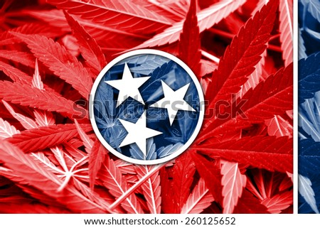 Tennessee State Flag on cannabis background. Drug policy. Legalization of marijuana - stock photo