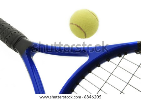 tennis ball and a racket.