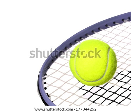 Tennis Ball and Racket isolated on white background. Closeup - stock photo