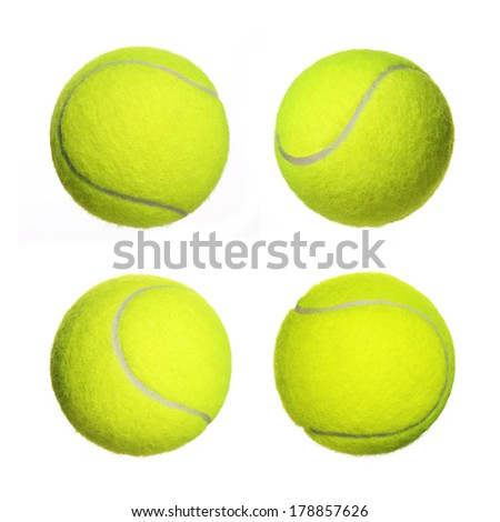 Tennis Ball Collection isolated on white background. Closeup - stock photo