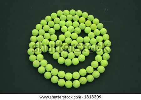 Tennis ball Happy Face - stock photo
