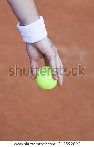 tennis ball in hand - stock photo