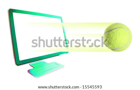 Tennis-ball  leaving out of computer monitor-C - stock photo