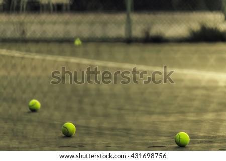 tennis ball on tennis court./Tennis ball - stock photo