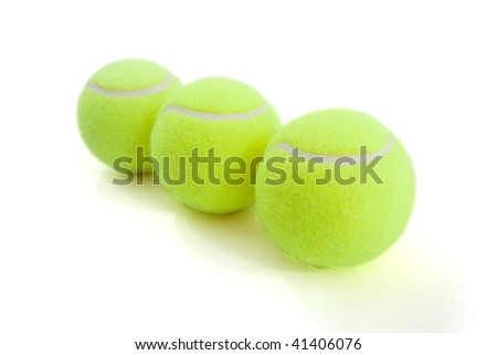 tennis ball on white background. lying by line.