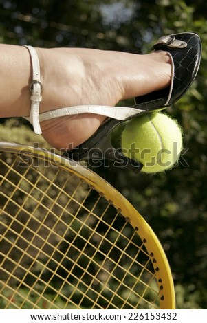 Tennis Ball, Racket and Fashion Shoes - stock photo
