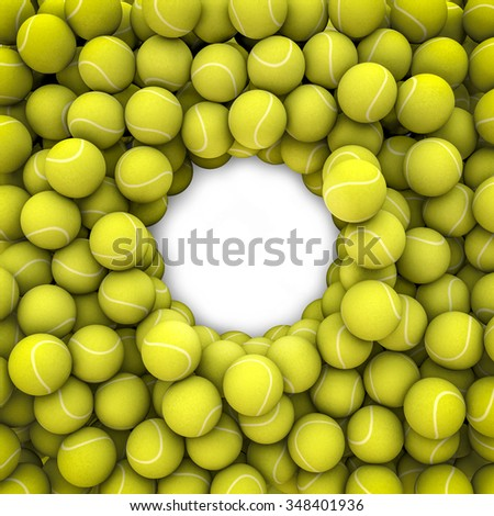 Tennis balls frame / 3D render of tennis balls framing copy space