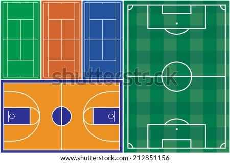 Tennis basketball and football court - stock photo