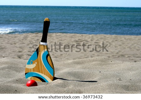Tennis beach racket - stock photo