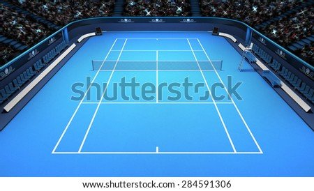 tennis blue court perspective upper front view sport theme render illustration background own design - stock photo